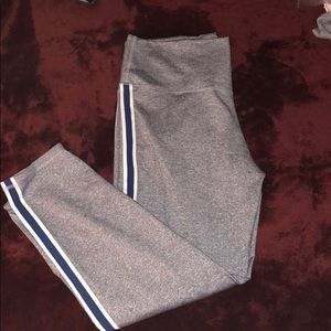 Aerie leggings grey with navy stripe